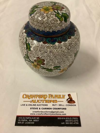 Antique Chinese cloisonne copper urn/jar with lid - floral design
