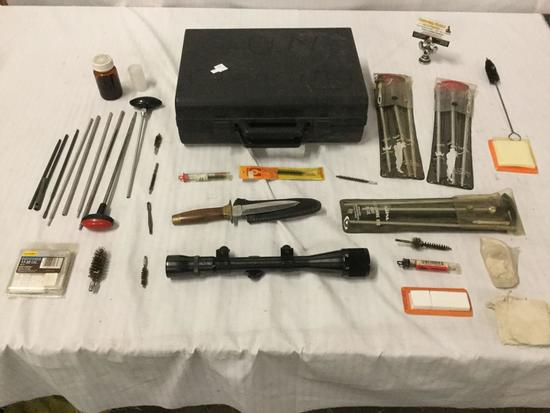 Gun cleaning kit, sheathed knife from Pakistan, Weaver detachable rife scope, etc