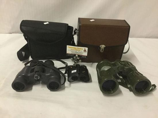 3 vintage binoculars - Bushnell j-b133 7x50, LL Bean Nikon Action scoutmaster III zoom etc