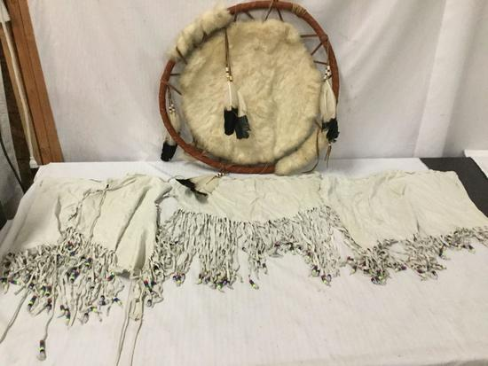 Native American handmade cowhide with feather accents war shield & 3 pcs of beaded leather apparel