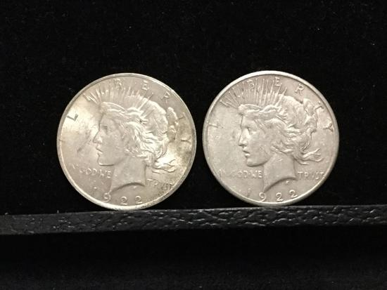 Collection of 2 silver Peace Dollars. Featuring a 1922S coins and one 1922