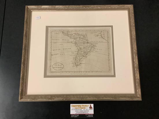 Antique framed engraved map of South America, title: A New Map of South America by Harrison and Co.