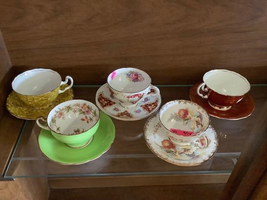 Selection of 4 Adderley bone china teacups and plates + 1 Aynsley floral teacup and plate