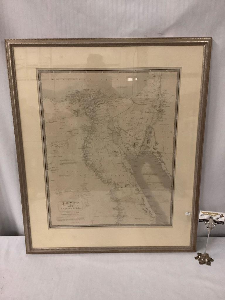 Professionally framed engraved map of Egypt and Arabia Petrea by W. and A.K. Johnston
