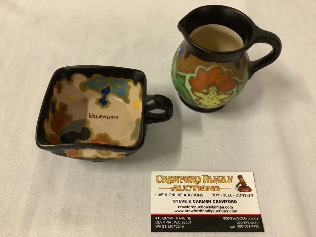 2 pc vintage hand painted ceramic cup and small creamer from Gouda, Holland