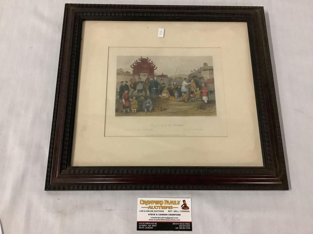 """Antique framed tinted steel engraving - """"Punishment of the Bastinado"""" after Thomas Allom (1804-1872)"""