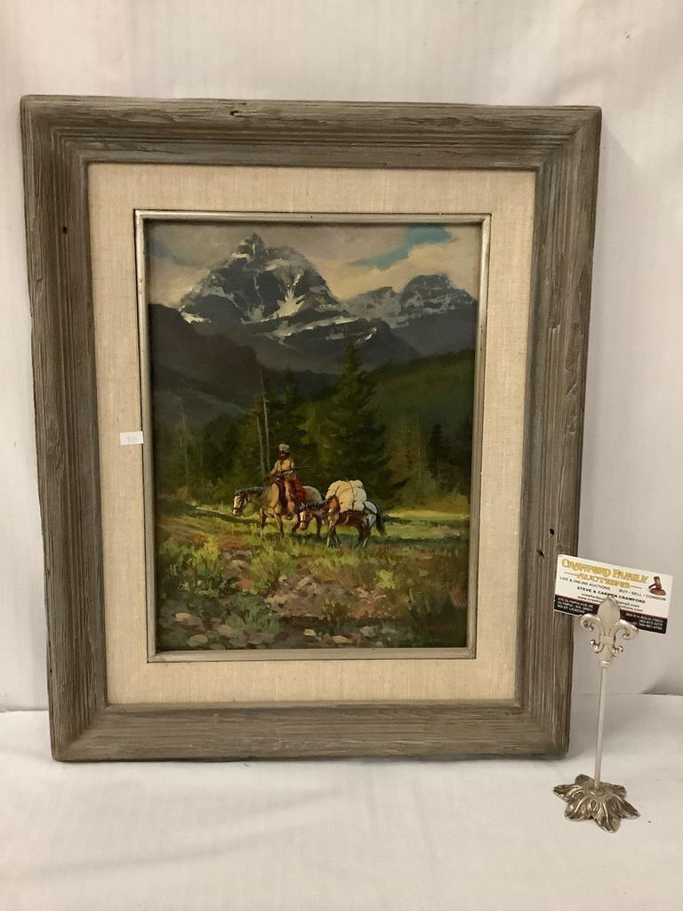 Framed original oil painting of a mounted raider with mules - signed Below the Mountain by Mark Ogle