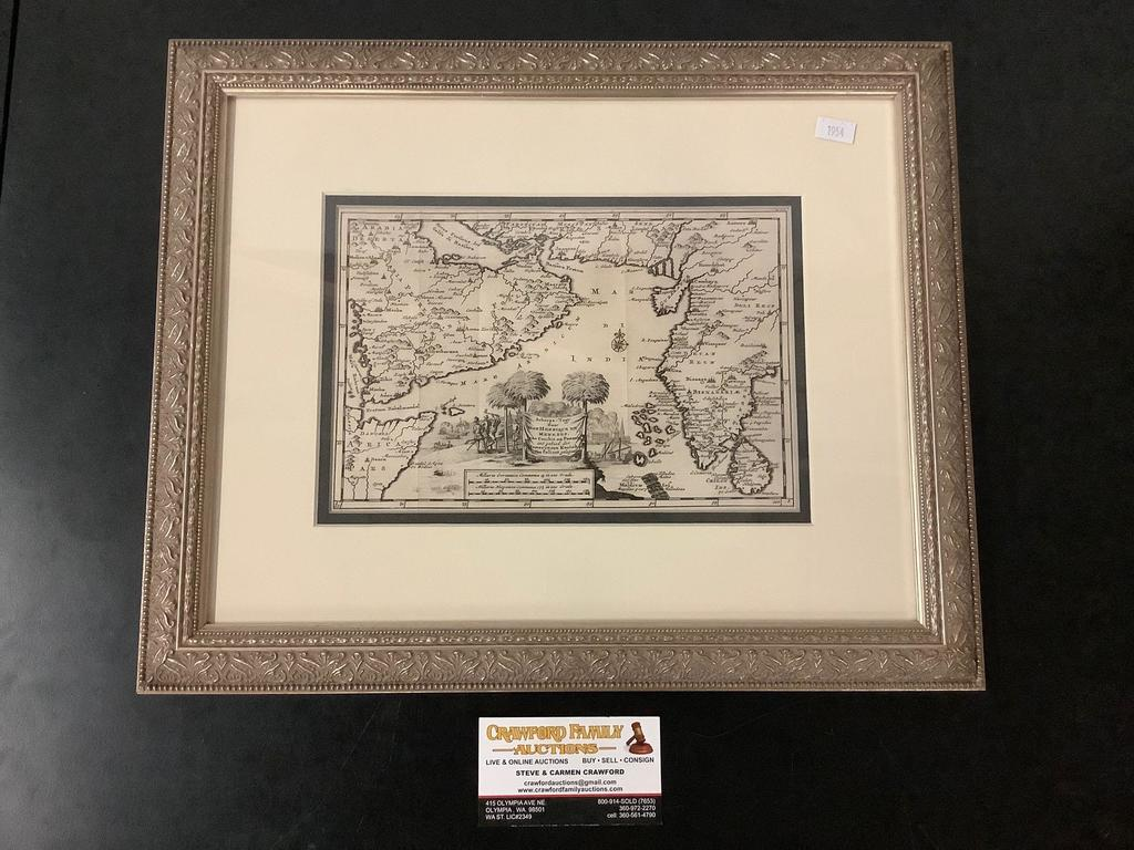 Antique framed engraved map of the Indian Ocean & surrounding area by Peter Van dear (1659-1733)