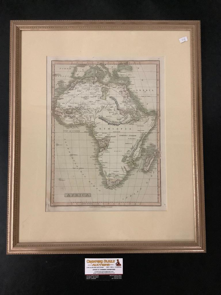 Framed engraved and tinted map of Africa by C. Smith (London)