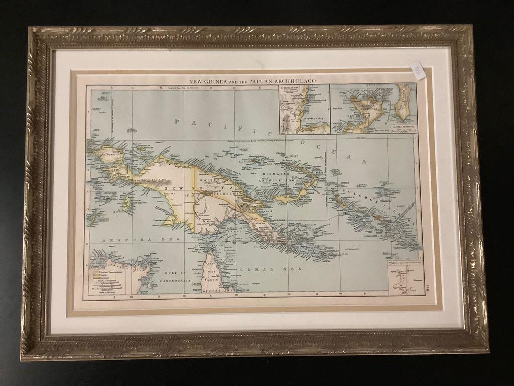 Framed map of New Guinea and the Papuan Archipelago, framed by Aaron Brothers