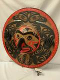 Signed Art Thompson, Birth of the Raven carved wall totem w/ abalone inlay - valued @ $15-20,000