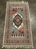 Vintage Moroccan wool rug w/braided fringe - Extra Superieure, vibrant mauve, cream and blue gray