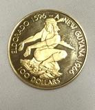 Franklin mint 1976 $100 90% gold proof coin of Guyana. Weighs 5.80 g