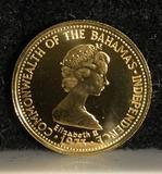 Uncirculaled 1975 50 dollars gold proof coin of the Bahamas. Weighs 2.70g