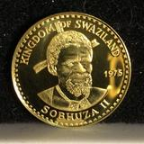 Uncirculated 1975 50 emalageni gold proof coin of the republic of Swaziland. Weighs 4.30g