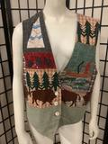 Hand made patchwork Native American made vest from Yakima Nation, by C. L. Hecker - sz Medium