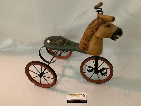 Vintage decorative horse head wood and metal doll tricycle, approximately 10 x 16 x 15 inches