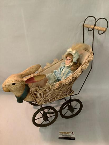 Vintage Midwest Importers bunny head baby carriage with Bradley Dolls porcelain doll approx 24x10