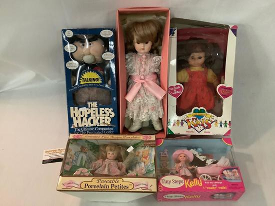 5x dolls in original boxes; Bradley Collector Porcelain, Tiny Steps Kelly, One World Kids, The