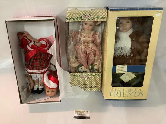 3x collectors dolls in original boxes; Effanbee 1996 Patsy Joan (head off), Crownie fine porcelain,