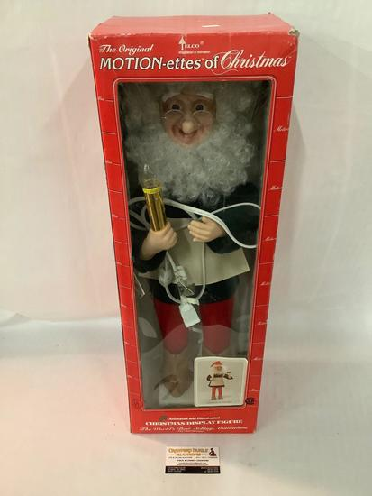 The Original Motion-Estes of Christmas electric display figure by Elco in box, works, 9x7x28 inches