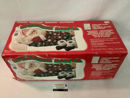 Telco Motion-ettes Sleeping Santa snoring whistling animated figure in original box approx 25x11x10