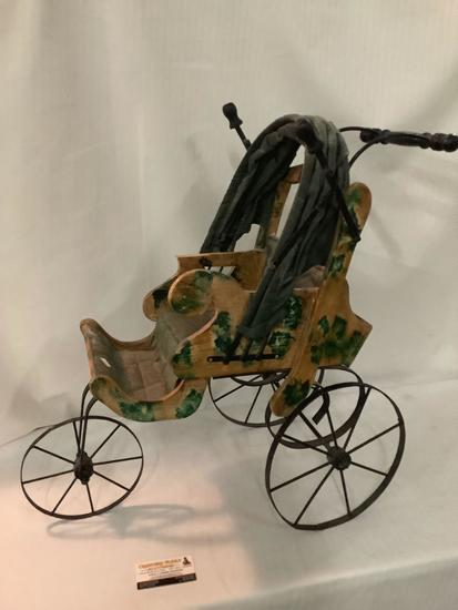 Old antique three wheel baby carriage /wagon with cover, wood has damage, approximately 25 x 25 x 13