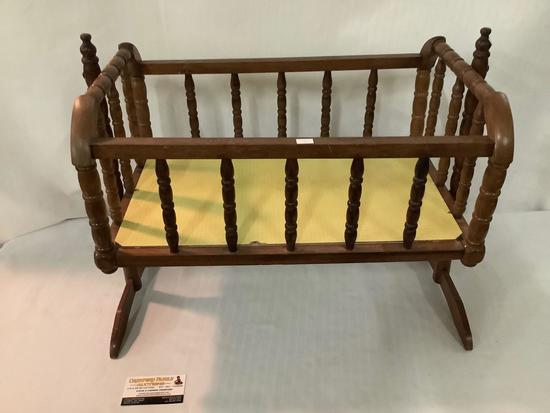 Vintage wooden swinging baby doll cradle, spindle, Jenny Lind, approximately 23 x 14 x 18 inches