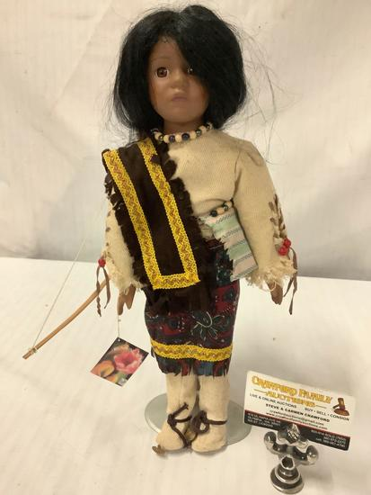 Limited Edition Native American designed porcelain doll by Running Bear, with tag/COA, approx 16x6