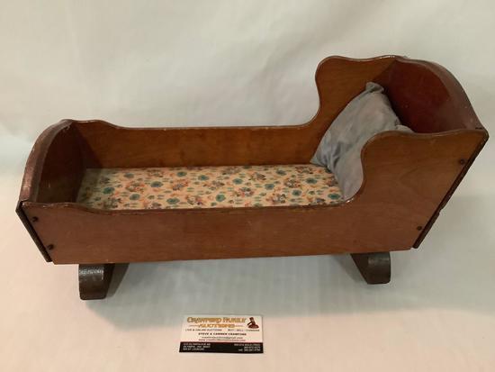 Antique wooden Keystone, Boston doll cradle bed rocker w/ wind up music box, approximately 18 x 9 x