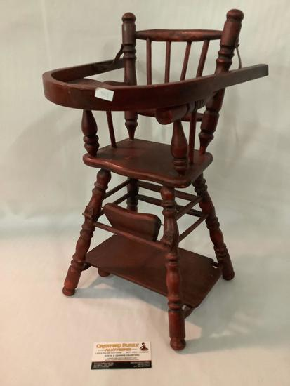 Antique wooden doll highchair, approximately 11 x 13 x 19 inches