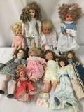 Ten porcelain and vinyl dolls from Seymour Mann, Furga, and others. Largest doll approx. 19x8x4