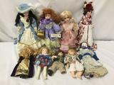 9x vintage porcelain and composite dolls. Seymour Mann and more. Largest doll measures approximately