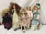 Vintage and modern porcelain dolls. Bella Rose and more. Largest measures approximately 29x10x5