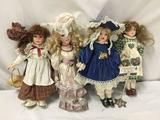 4x porcelain and composite dolls. Patty and more. Largest doll measures approximately 17x7x4 inches.