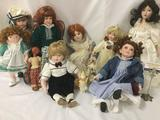 Ten porcelain and wood dolls from makers like Geppeddo, Paradise Galleries, and Franklin Heirlooms.