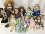 Lot of eleven porcelain and soft vinyl dolls from the Broadway Collection and others. Largest Doll