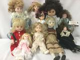 Ten porcelain, composite, and vinyl dolls from makers like Horsman, Remco, Heritage Mint, Jesco, and