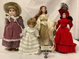 Collection of four porcelain collectors dolls; 2x the Danberry mint, Franklin heirloom dolls,