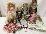 10x porcelain dolls. Chatelaine and more. Largest doll measures approximately 22x8x5 inches.