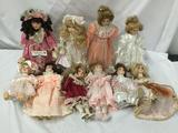 10x Porcelain Dolls. Broadway Olle toon and kore. Largest doll Measures approximately 19x8x5 inches.