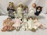10x vintage porcelain dolls. Heritage Mint, Collectors Choice and more. Largest doll measures