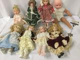 Lot of eight porcelain and vinyl dolls from Geppeddo, Pat Secrist, and others. Approx.