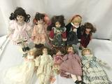 Ten ceramic and porcelain dolls by Cardinal, Kingstate, and others. Largest doll approx. 13x17x4