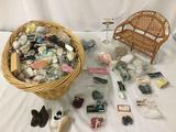 Huge lot with a ton of doll shoes and a model wicker loveseat. Brands include Syndees Crafts,