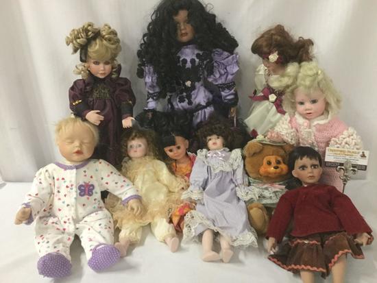 Ten porcelain, vinyl, and composite dolls from makers like Seymour Mann, Brinns, JMBJ, Hamilton