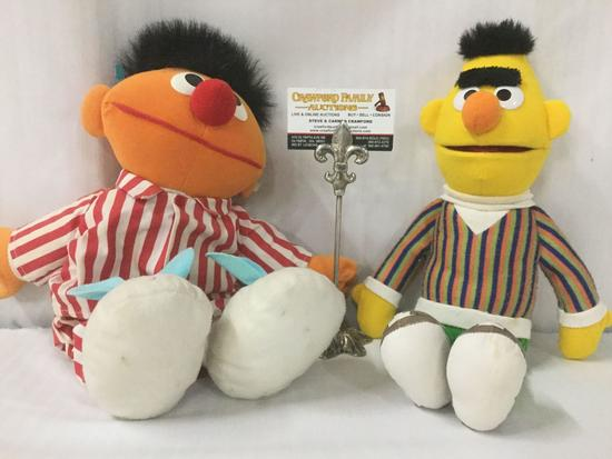 Bert and Ernie Sesame Street plush toys from Tyco. Ernie has a voicebox that is tested and working.