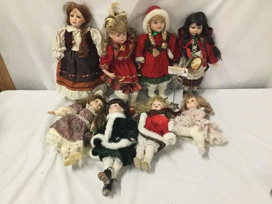 8x composite dolls. Gepeddo, heritage Mint and more. Largest doll measures approximately 19x9x7