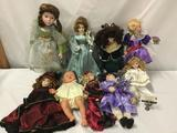 9x porcelain, vinyl and composite dolls. Danbury Mint and more. Largest doll measures approximately