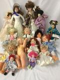 Fifteen vinyl, porcelain, cloth, and composite dolls from makers like Danbury Mint, Cititoy, and